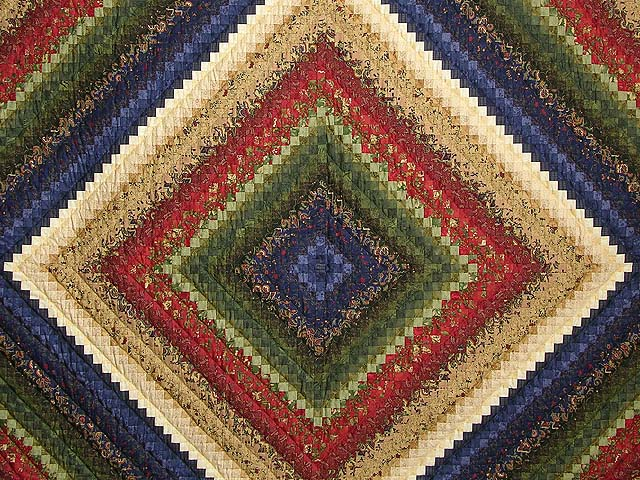 King Wheat Burgundy Navy & Green Postage Stamp Quilt Photo 3