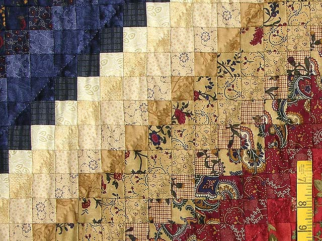 King Wheat Burgundy Navy & Green Postage Stamp Quilt Photo 6