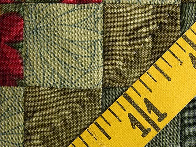 King Wheat Burgundy Navy & Green Postage Stamp Quilt Photo 8