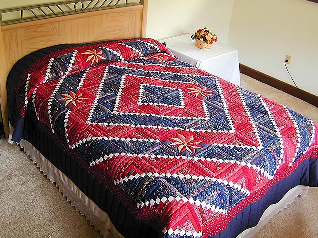 Red and Navy Cornerstone Quilt with Stars Photo 1
