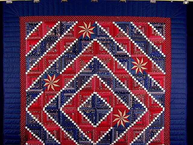 Red and Navy Cornerstone Quilt with Stars Photo 2