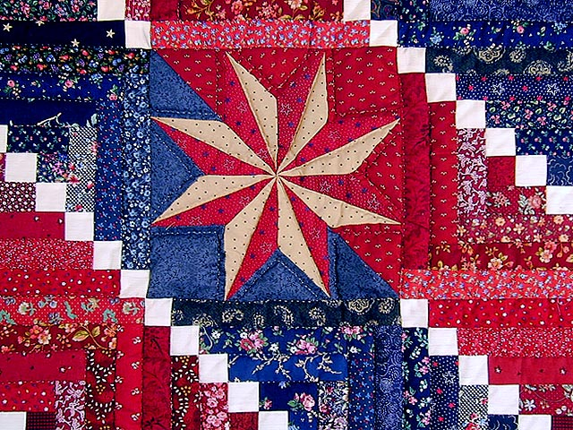 Red and Navy Cornerstone Quilt with Stars Photo 3