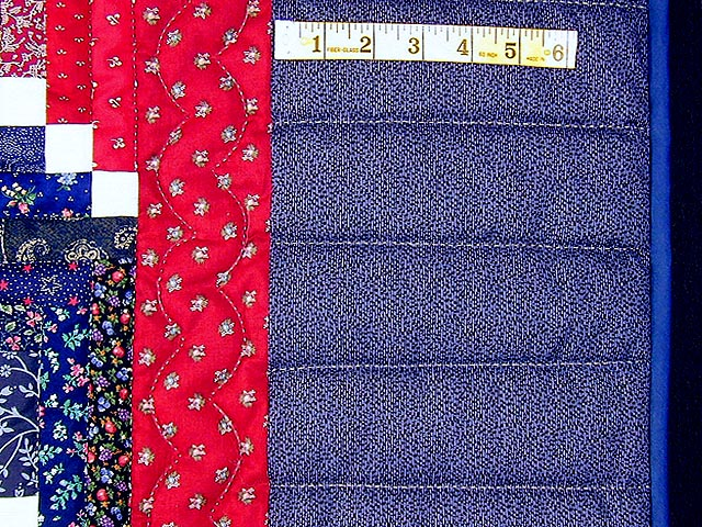 Red and Navy Cornerstone Quilt with Stars Photo 5