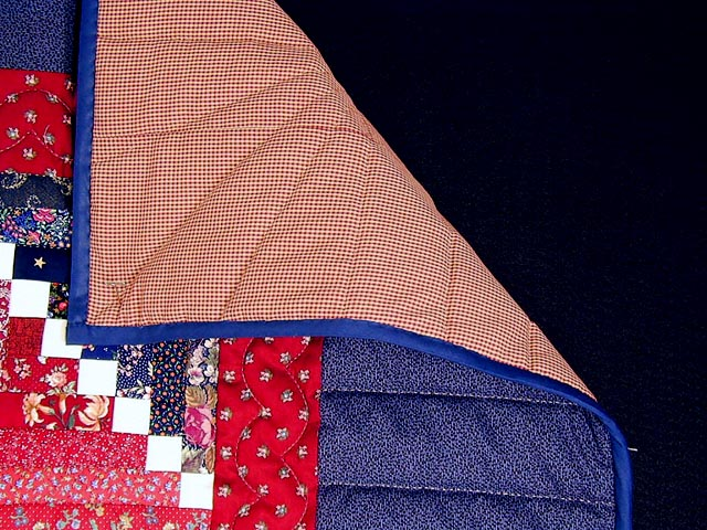 Red and Navy Cornerstone Quilt with Stars Photo 6