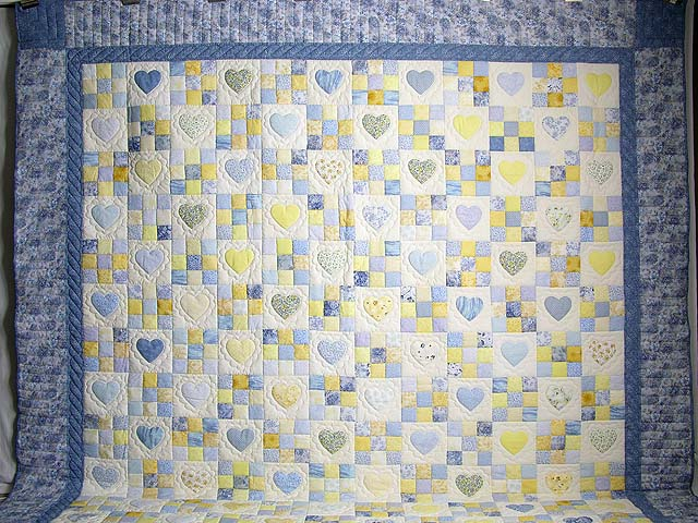 King Blue and Yellow Hearts and Nine Patch Quilt Photo 2