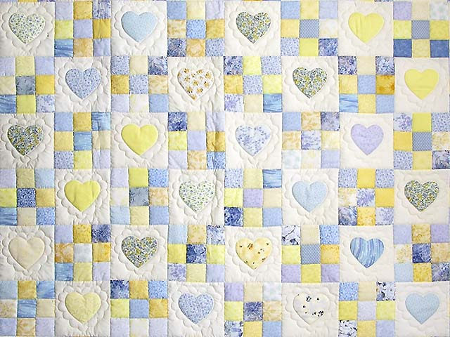 King Blue and Yellow Hearts and Nine Patch Quilt Photo 3