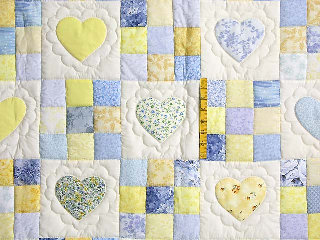 King Blue and Yellow Hearts and Nine Patch Quilt Photo 4