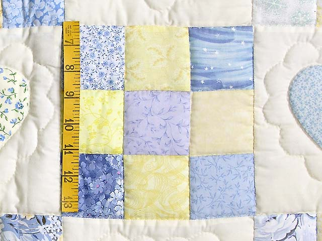 King Blue and Yellow Hearts and Nine Patch Quilt Photo 5