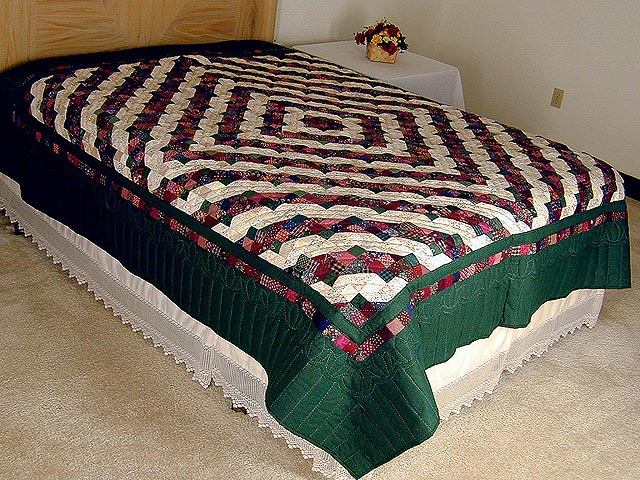 Green and Burgundy Split Nine Patch Quilt Photo 1