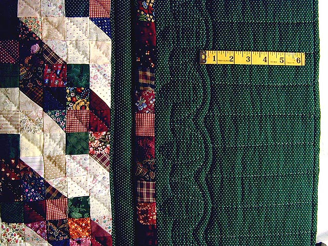 Green and Burgundy Split Nine Patch Quilt Photo 4
