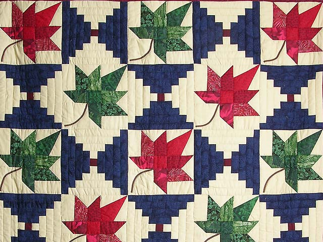 Autumn Splendor Log Cabin Quilt Marvelous Meticulously Made Amish