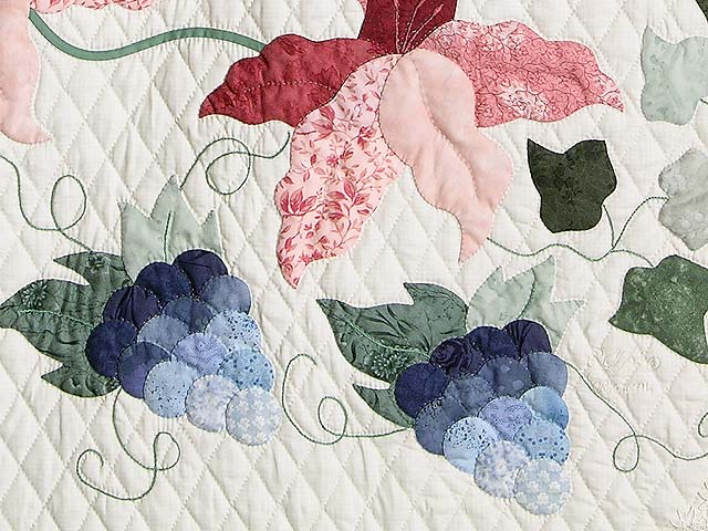 King Pastel Blue and Salmon Petal Showcase Quilt Photo 5