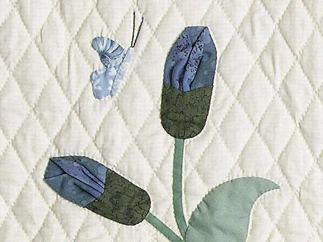 King Pastel Blue and Salmon Petal Showcase Quilt Photo 6