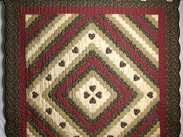 Dark Green Burgundy and Tan Ocean Wave Quilt Photo 2