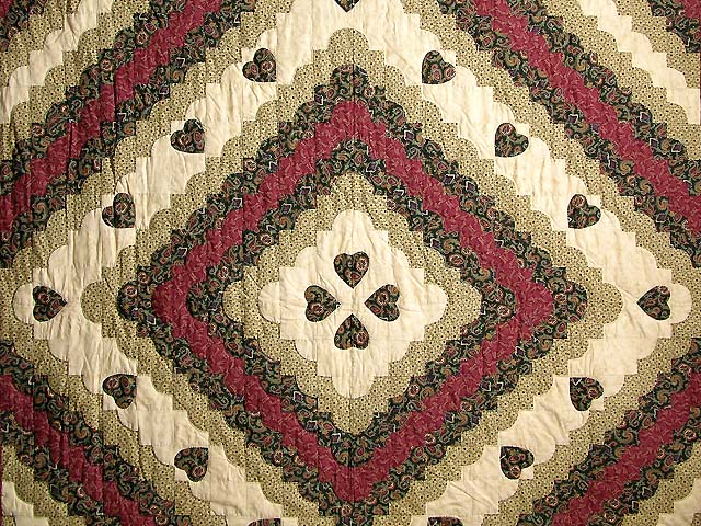 Dark Green Burgundy and Tan Ocean Wave Quilt Photo 3