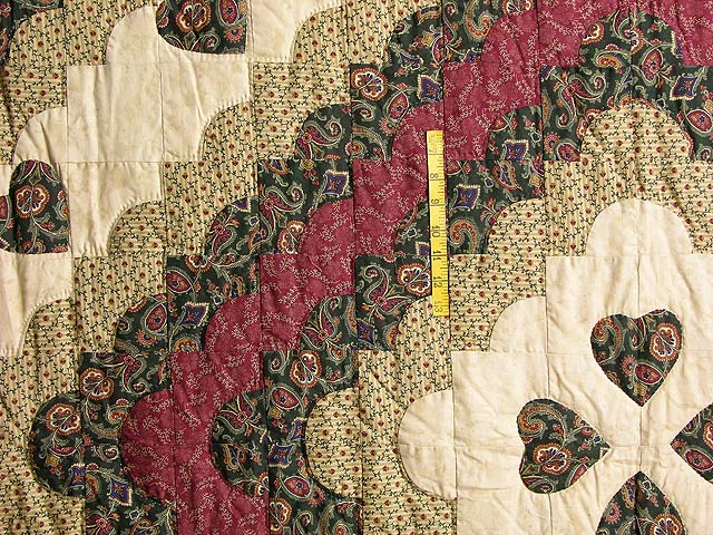 Dark Green Burgundy and Tan Ocean Wave Quilt Photo 4