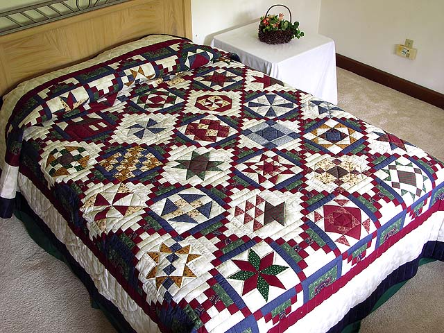Navy Green and Burgundy Courthouse Sampler Quilt Photo 1