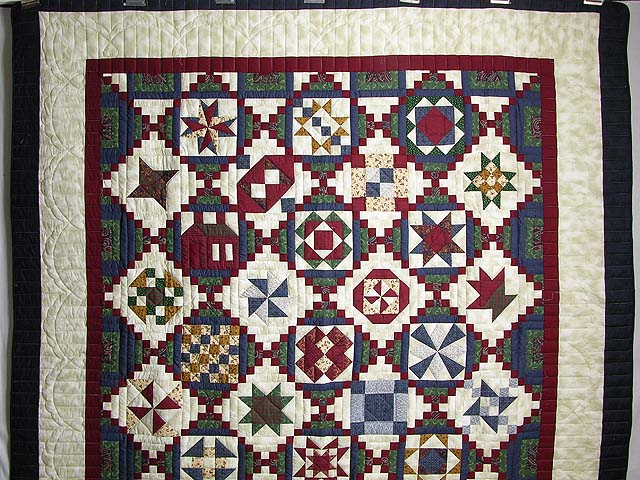 Navy Green and Burgundy Courthouse Sampler Quilt Photo 2