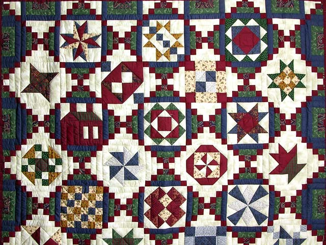 Navy Green and Burgundy Courthouse Sampler Quilt Photo 3