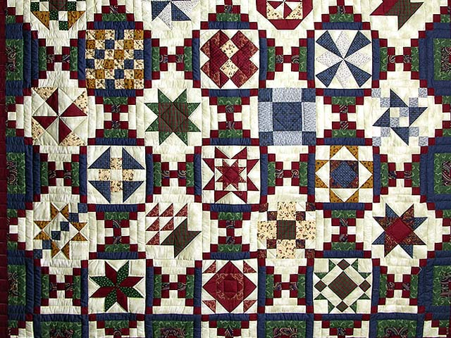 Navy Green and Burgundy Courthouse Sampler Quilt Photo 4