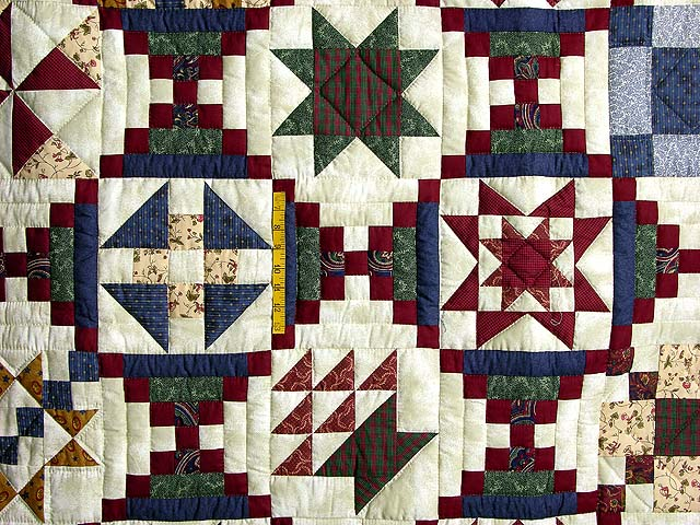 Navy Green and Burgundy Courthouse Sampler Quilt Photo 5
