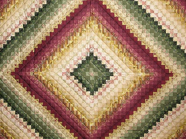 King Burgundy Green and Gold Color Splash Quilt Photo 3