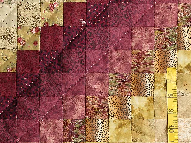 King Burgundy Green and Gold Color Splash Quilt Photo 6