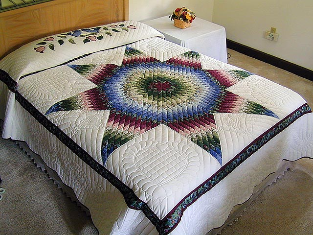 Burgundy Green and Blue Fine Lone Star Quilt Photo 1