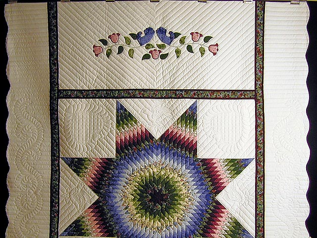 Burgundy Green and Blue Fine Lone Star Quilt Photo 2