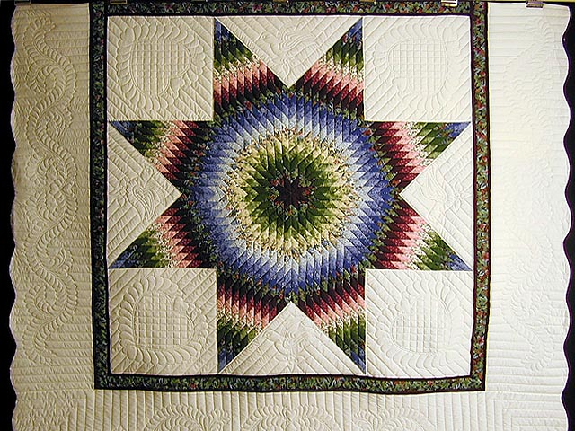 Burgundy Green and Blue Fine Lone Star Quilt Photo 3