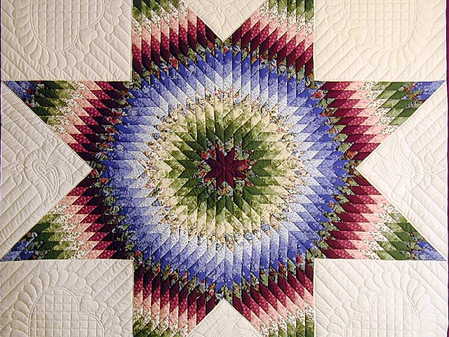 Burgundy Green and Blue Fine Lone Star Quilt Photo 4