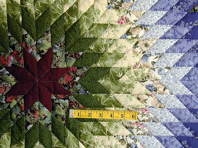 Burgundy Green and Blue Fine Lone Star Quilt Photo 5