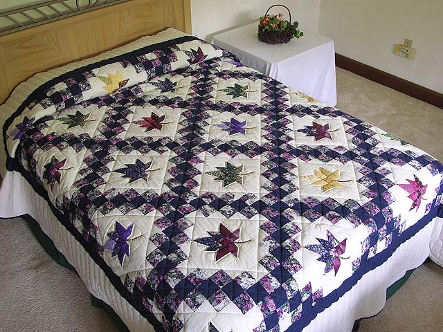 Navy Purple and Multicolor Autumn Splendor Irish Chain Quilt Photo 1