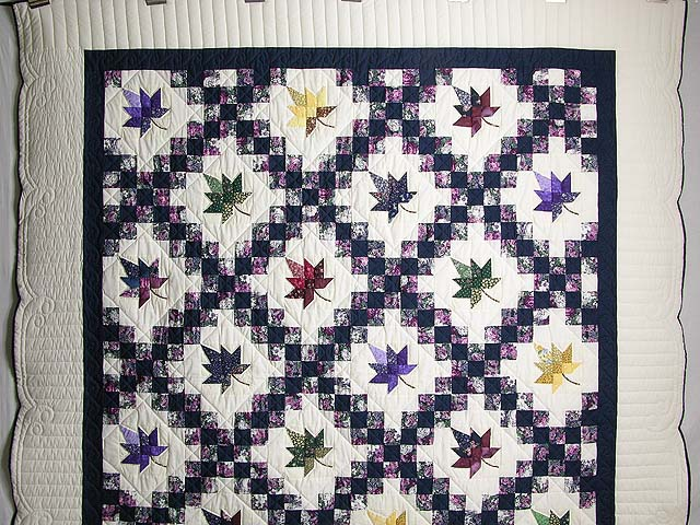 Navy Purple and Multicolor Autumn Splendor Irish Chain Quilt Photo 2