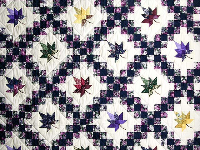 Navy Purple and Multicolor Autumn Splendor Irish Chain Quilt Photo 3