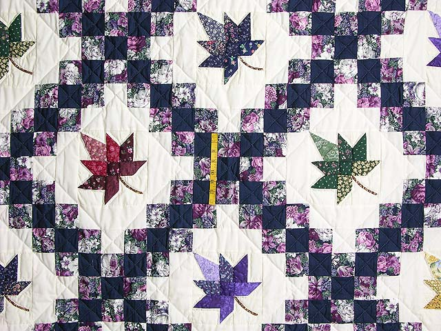 Navy Purple and Multicolor Autumn Splendor Irish Chain Quilt Photo 4