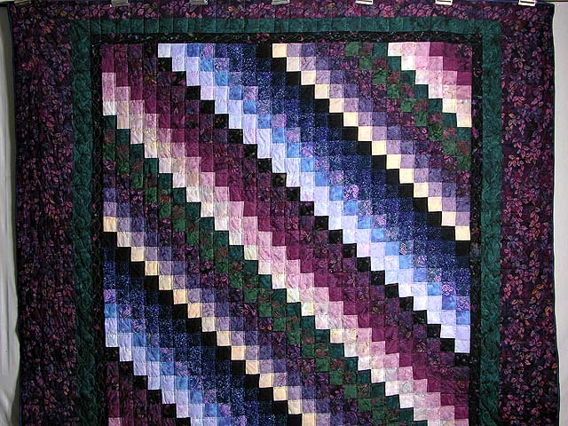 Plum and Green Batiks Quarter Trip Around the World Quilt Photo 2