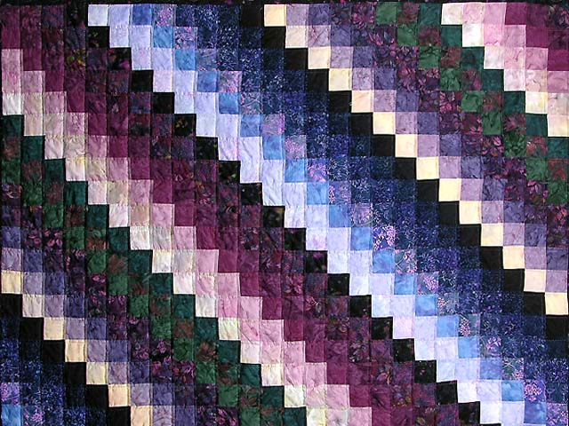 Plum and Green Batiks Quarter Trip Around the World Quilt Photo 3