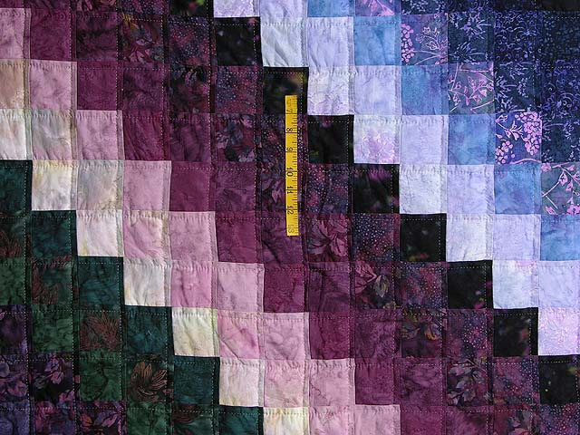 Plum and Green Batiks Quarter Trip Around the World Quilt Photo 4
