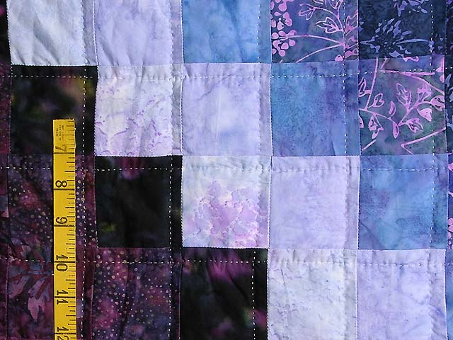 Plum and Green Batiks Quarter Trip Around the World Quilt Photo 5