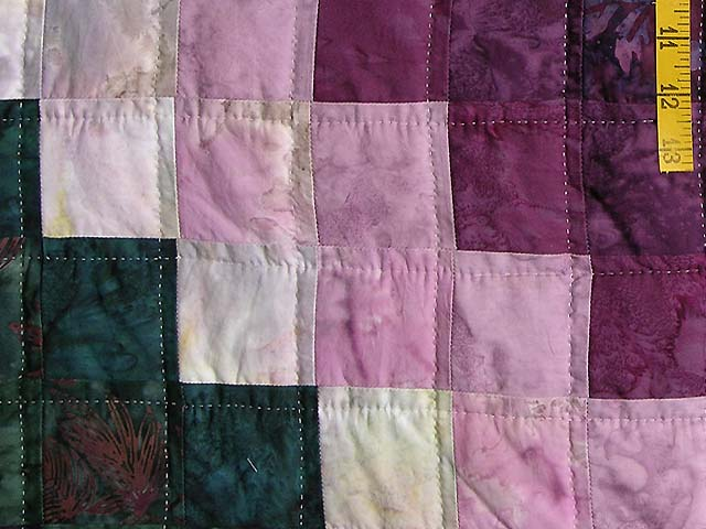 Plum and Green Batiks Quarter Trip Around the World Quilt Photo 6