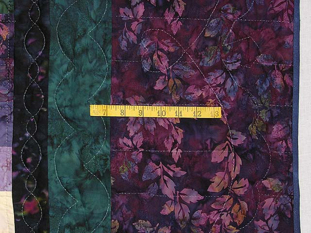 Plum and Green Batiks Quarter Trip Around the World Quilt Photo 7