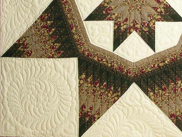 King Moss Burgundy and Tan Royal Star of Maryland Quilt Photo 4