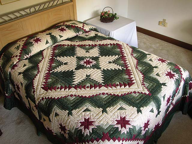Green and Burgundy Eureka Quilt Photo 1