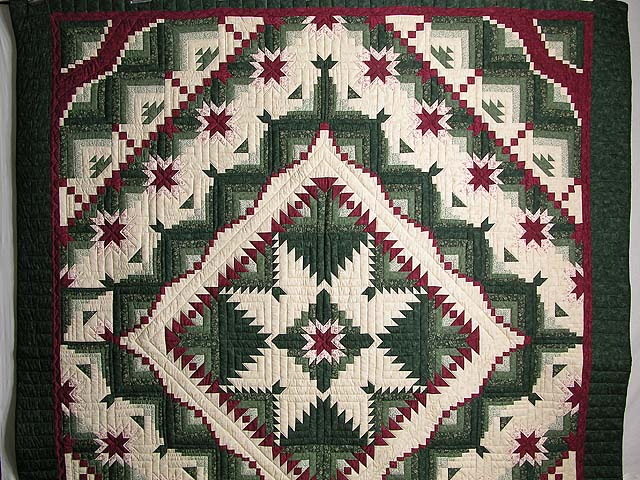 Green and Burgundy Eureka Quilt Photo 2