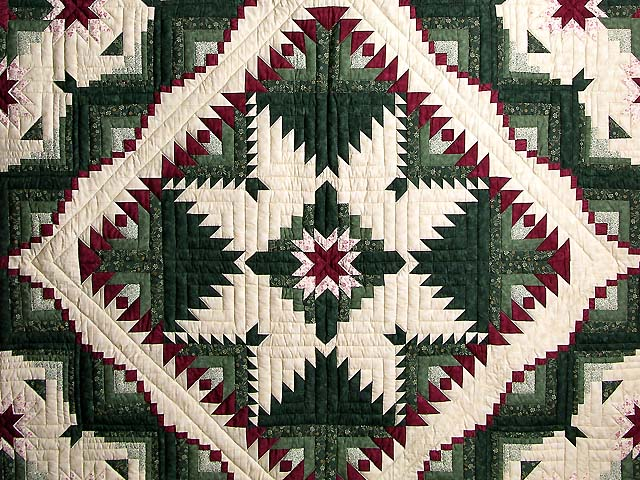 Green and Burgundy Eureka Quilt Photo 3