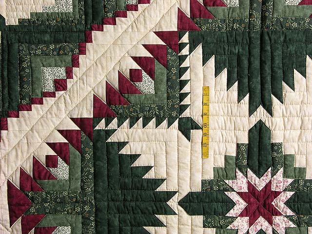 Green and Burgundy Eureka Quilt Photo 4