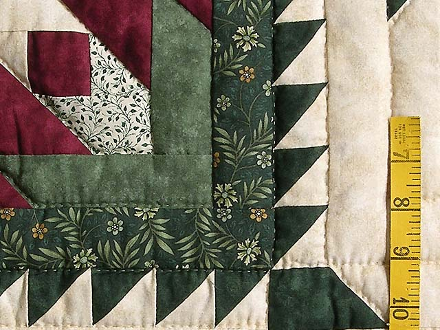 Green and Burgundy Eureka Quilt Photo 6