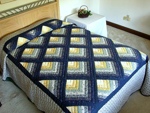 Navy and Yellow Chevron Log Cabin Quilt Photo 1