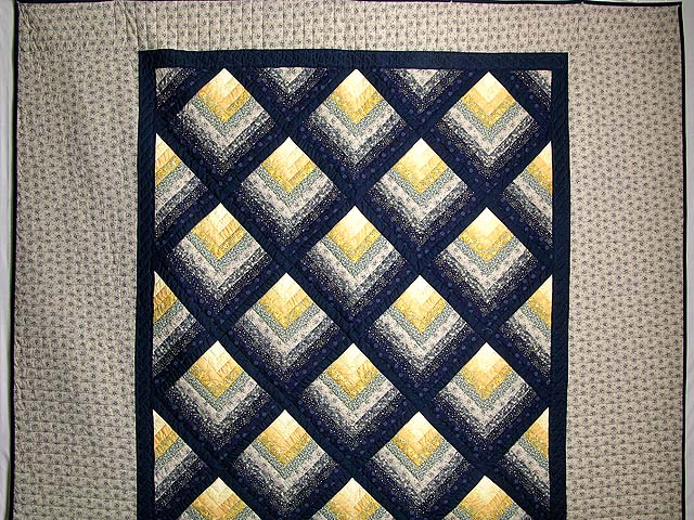 Navy And Yellow Chevron Log Cabin Quilt Photo 2